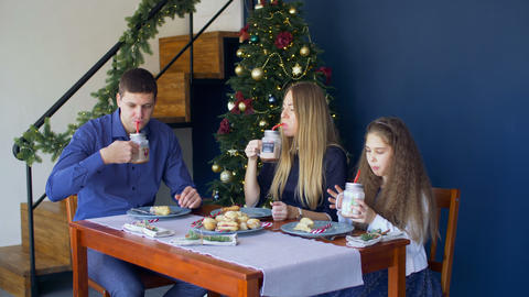 Happy family having christmas dinner at home Footage