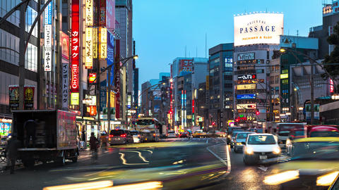 Tokyo, Japan - Evening Traffic in Ueno in Time Lapse Footage