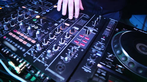 DJ playing on the best, Dj mixes the track in the nightclub at party GIF