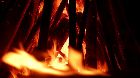 tipi fire. Element of fire, huge night fire on holiday Footage