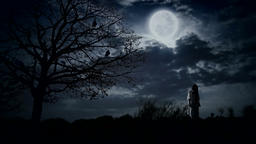 Scary girl under full moon next to the tree with ravens Footage