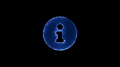 Symbol info circle. Blue Electric Glow Storm. looped video. Alpha channel black Animation