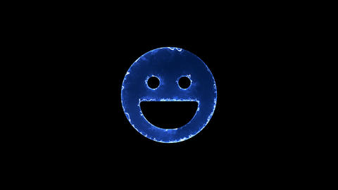 Symbol laugh. Blue Electric Glow Storm. looped video. Alpha channel black Animation
