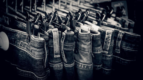sale in store, Jeans, fabric, trousers, american フォト
