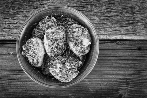 Black and white photo, Meat patties, rustic style, Home cooking Photo