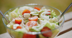 Bowl of fresh mixed green salad Footage