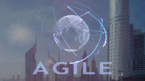 Agile text with 3d hologram of the planet Earth against the backdrop of the Footage