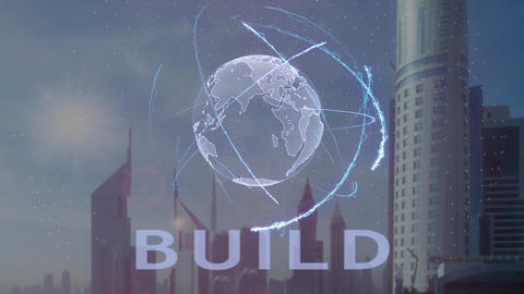 Build text with 3d hologram of the planet Earth against the backdrop of the Archivo