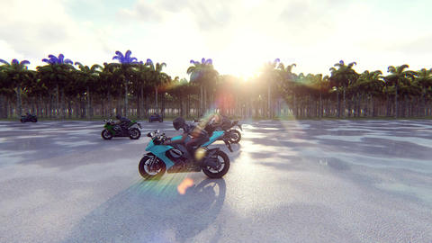 Motorcycles go forward at high speed on a sunny day. Realistic 4k animation Animation