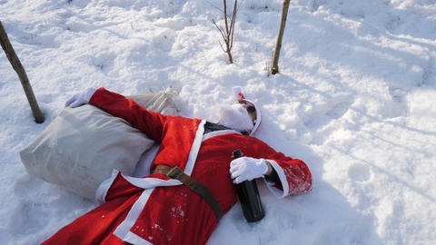 Lying Drunk Santa with a bottle in the forest ビデオ