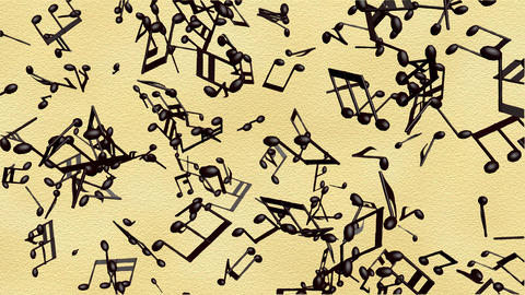 Music notes flowing on white background, seamless animation GIF