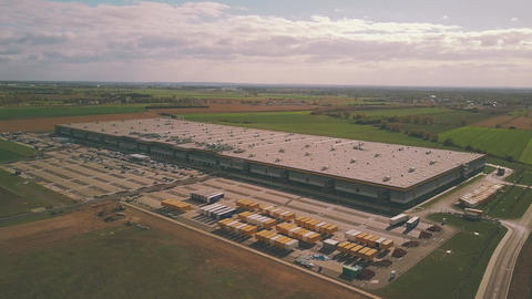 POZNAN, POLAND - OCTOBER 20, 2018. Aerial view of Amazon online shop center and Live Action