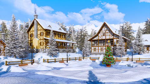 Christmas tree on snowbound alpine village square at winter day GIF