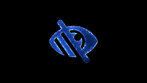 Symbol low vision. Blue Electric Glow Storm. looped video. Alpha channel black Animation