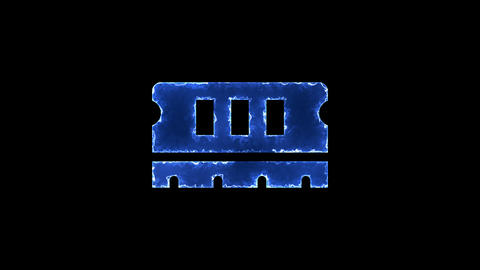 Symbol memory. Blue Electric Glow Storm. looped video. Alpha channel black Animation