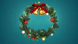 christmas wreath 3 _ blue background CG動画素材