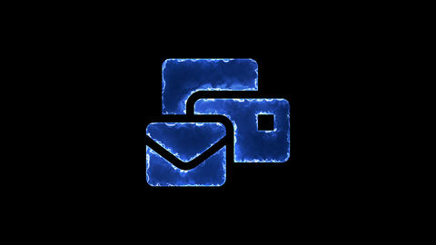 Symbol mail bulk. Blue Electric Glow Storm. looped video. Alpha channel black Animation
