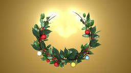 christmas wreath 3 _ gold background Animación
