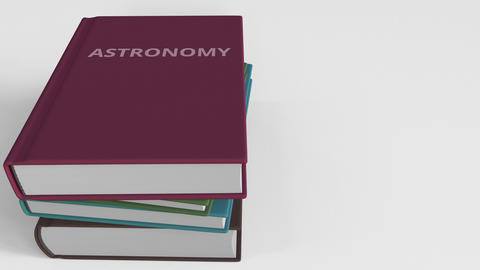 Heap of books on ASTRONOMY, 3D animation Live Action