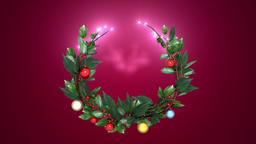 christmas wreath 3 _ magenta background CG動画素材