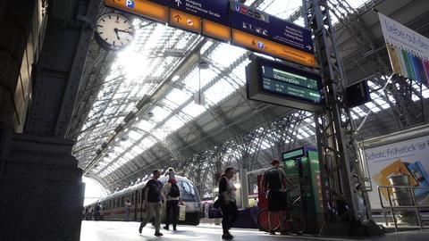 Commuters Train on Platform Frankfurt Main Railway Station Hauptbahnhof Footage