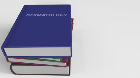 Book with DERMATOLOGY title. 3D animation Live影片