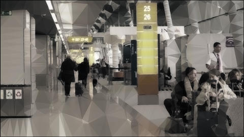 Unknown people in the airport terminal. Conceptual lowpoly clip Footage