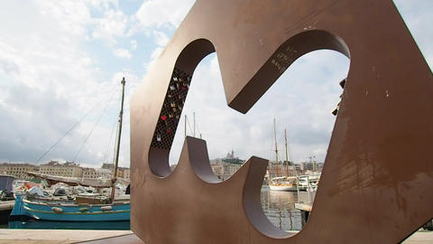 M symbol of the city of Marseille Footage