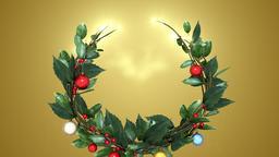 christmas wreath 2 _ gold background Animation