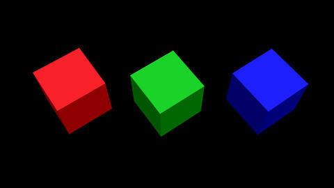 RGB cubes, 3d cubes rotating on top, green cube rotating isolated and zooming in Animation
