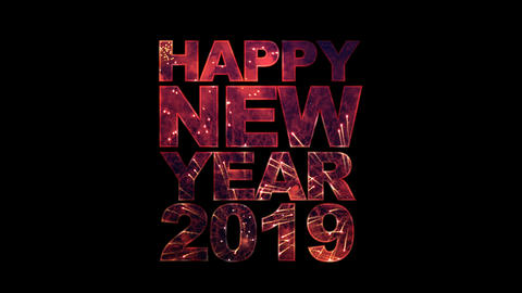 Happy New Year 2019 Text with fireworks for celebration... Stock Video Footage