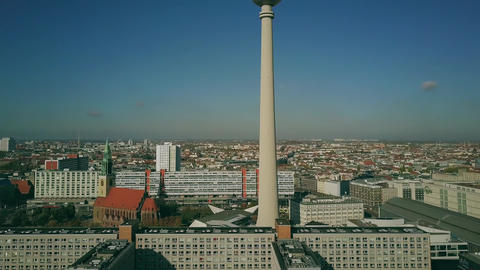 Aerial view of Berlin as seen from famous Alexanderplatz, Germany Live Action