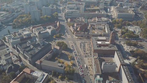 Aerial shot of Berlin involving famous Berliner Dom cathedral, Germany Footage