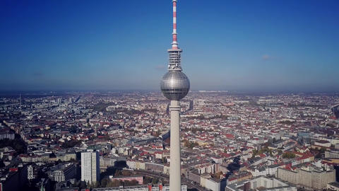 BERLIN, GERMANY - OCTOBER 21, 2018. TV Tower and cityscape on sunny day, aerial Footage