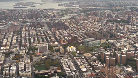 Aerial view of New York City from helicopter Footage