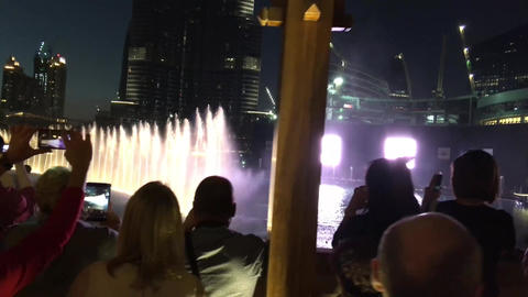 DUBAI, UNITED ARAB EMIRATES – NOVEMBER 22, 2015: Burj Khalifa night fountain w Footage