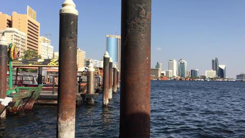 DUBAI - NOVEMBER 22, 2015: Dubai Creek with tourists on a beautiful day. The cit Footage