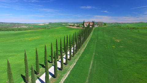 Aerial view of Agriturismo in Tuscany Footage