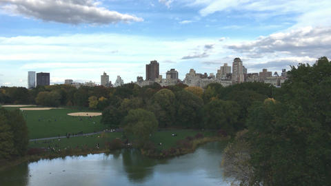 Aerial panoramic view of Central Park in New York City Footage