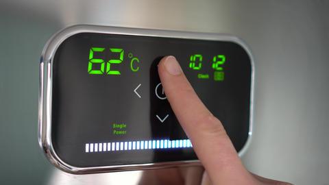Water heating. Temperature up. Digital display Footage