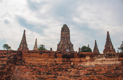 Ruins of ancient pagoda made of old red bricks Ayutthaya Thailand Photo