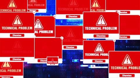 Technical Problem Alert Warning Error Pop-up Notification Box On Screen Footage