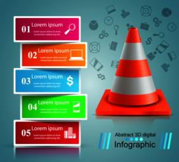 Road repair infographic design template and marketing icons ベクター
