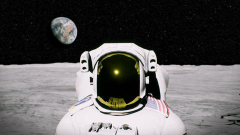 Astronaut on the moon near the lander salutes. 3D animation background Animation