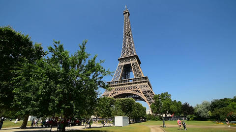 World famous Eiffel tower under a clear sky. Paris, France Footage