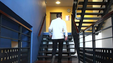 Businessman on Climbing the Stairs Footage