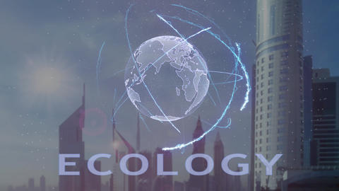 Ecology text with 3d hologram of the planet Earth against the backdrop of the Footage