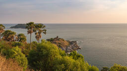 Phuket Thailand time lapse, sunset city skyline at Promthep Cape and ocean Footage