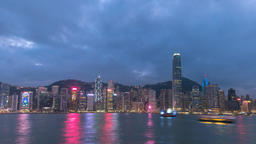 Hong Kong time lapse 4K, city skyline day to night timelapse at Victoria Bay Footage