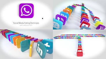Social Media Dominoes Logo Reveals Premiere Pro Template